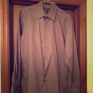 Men's brown button down dress shirt